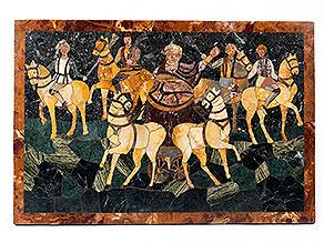 Marmorplatte mit Pietra Dura-Intarsienbild