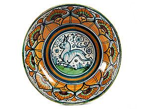 Majolika-Schale mit Hasen