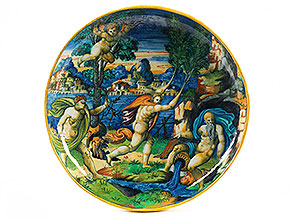 Majolika-Istoriato-Schale auf Fuß mit Wappen