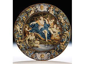 Majolika-Platte von Carlo Antonio Grue, 1655 - 1723