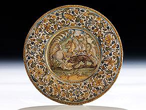 Majolika-Teller von Carlo Antonio Grue, 1655 - 1723 und Werkstatt