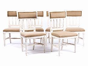 Satz von sechs gustavianischen Stühlen
