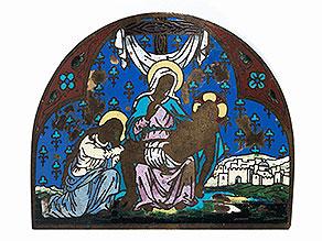 Emailplakette mit Darstellung der Pietà