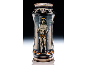 Großer Majolika-Albarello mit Heiligem Sebastian