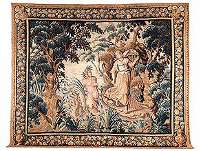 Großer Wandteppich mit mythologischer Darstellung