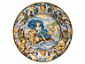 Detail images: Großer Majolika-Teller von Carlo Antonio Grue, 1655 - 1723