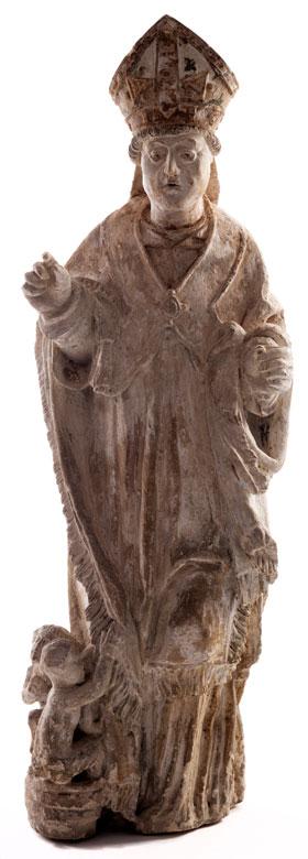 Steinfigur eines Heiligen Bischofs