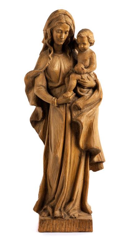 Schnitzfigur einer Maria mit Kind
