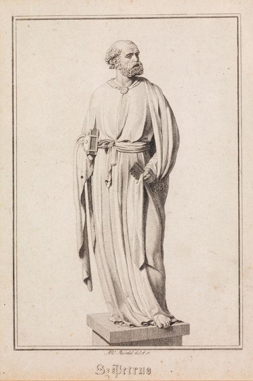 Gerahmter Stahlstich mit Darstellung des Heiligen Petrus als Steinfigur