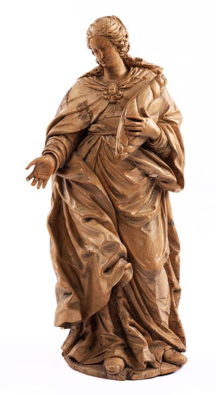 Barocke Schnitzfigur der Heiligen Elisabeth