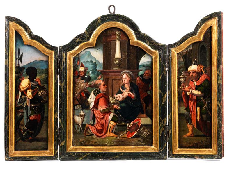 fl mischer hausaltar triptychon hampel fine art auctions. Black Bedroom Furniture Sets. Home Design Ideas