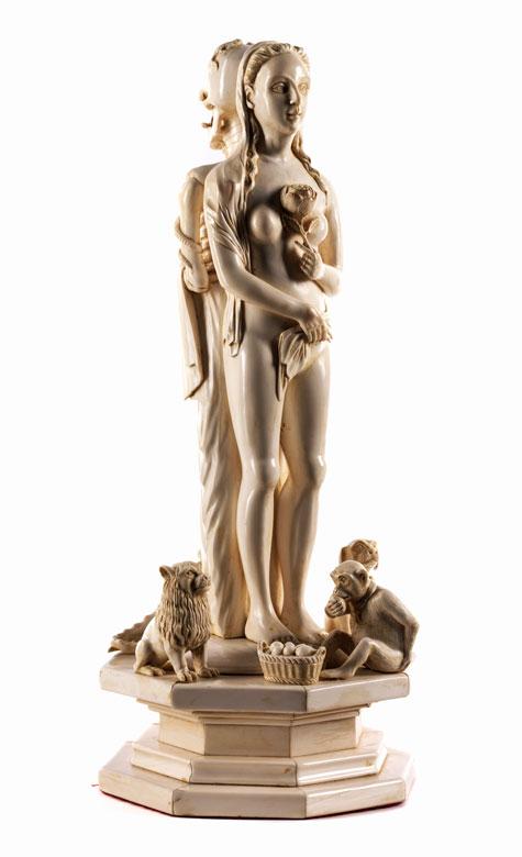 Große Memento mori -Figurengruppe in Elfenbein
