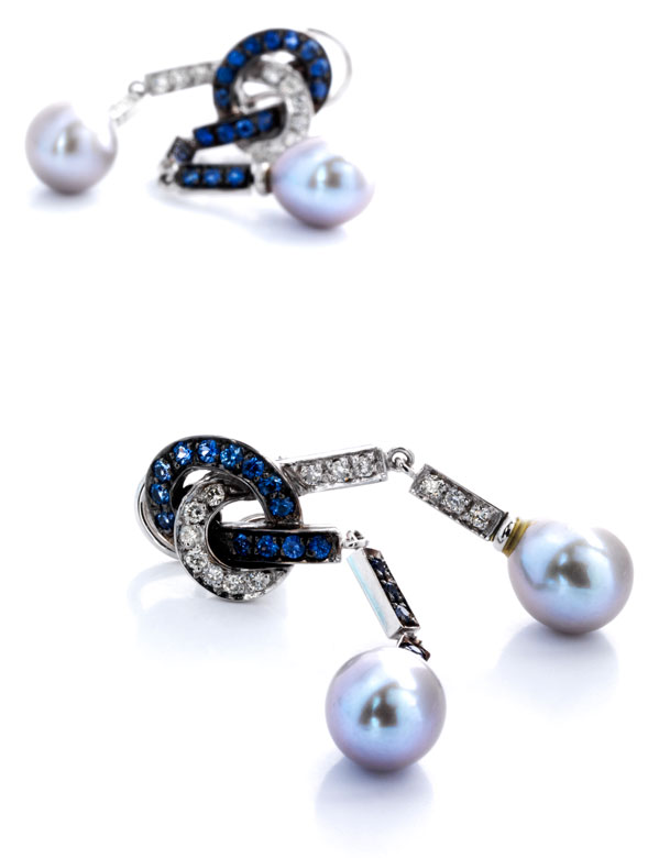 Perl-Ohrhänger mit Brillanten und Saphiren