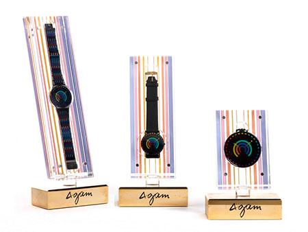 Drei Uhren aus der Rainbow Collection/ Collection 1 von Yaacov Agam, ausgeführt von Modavo um 1989
