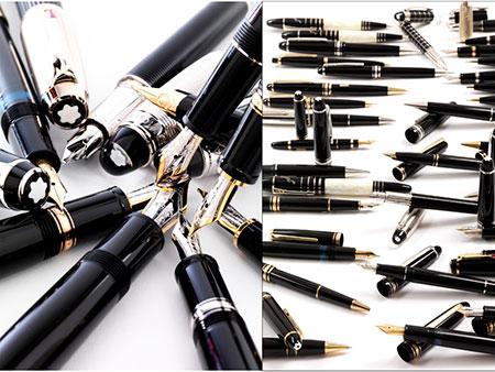 Eine Sammlung Füllfederhalter, Kugelschreiber und Bleistifte
