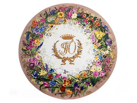 Runde Porzellanplatte wohl eines Salontischchens