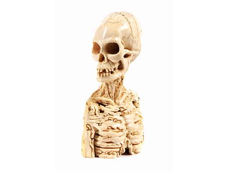 Memento mori-Skelettbüste in Elfenbein