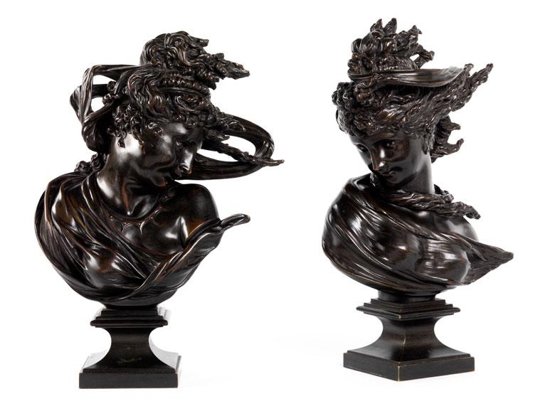 """Paar Art Nouveau-Bronzebüsten """"Begegnung zwischen Orient und Okzident"""""""