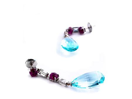 Aquamarin-Diamant-Rubinohrhänger