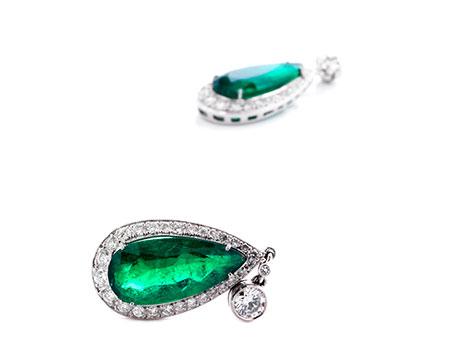 Smaragd-Brillantohrhänger