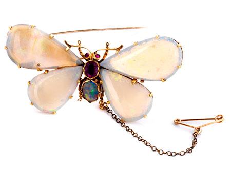 Opal-Schmetterlingsbrosche