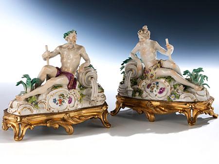 Paar Meissener Flussgötter-Figuren nach Modell von Johann Joachim Kändler, 1706 - 1775