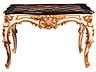 Detail images: Salontisch in eleganten Rokokoformen mit marmorierter Platte