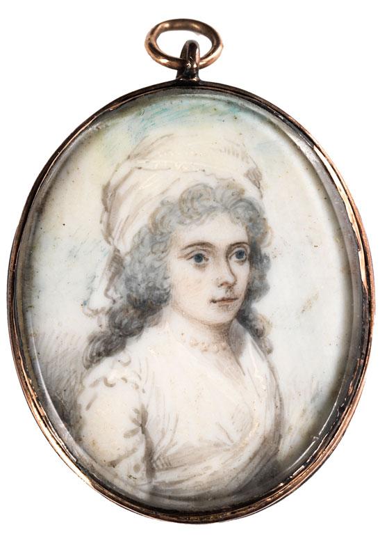Bildnis einer Dame in weißem Kleid mit Häubchen