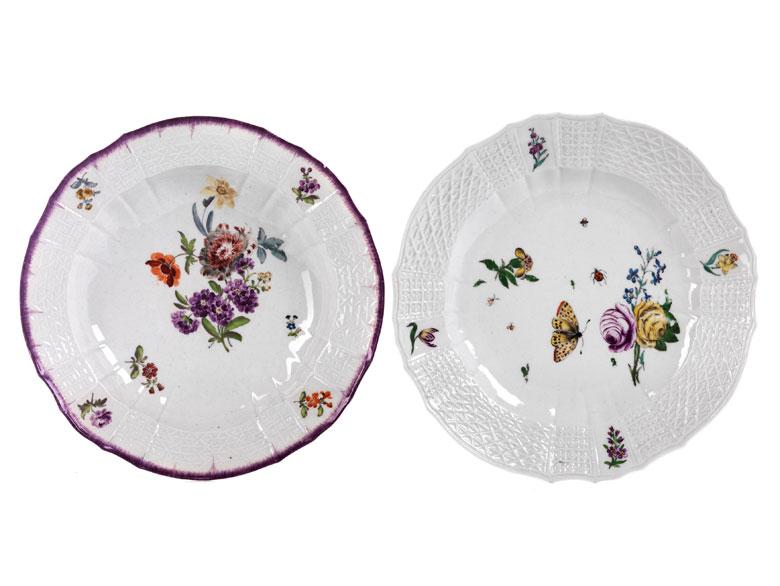 Zwei verschiedene Meissener Teller