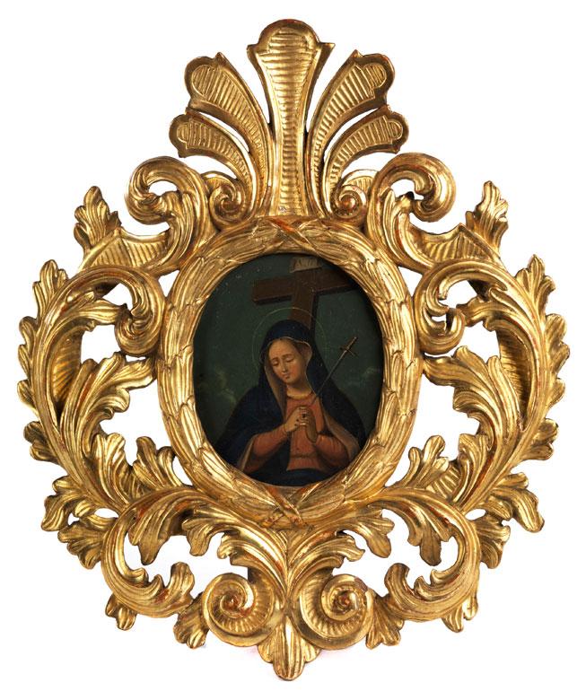 Kleines Votivbild mit der betenden Madonna unterm Kreuz
