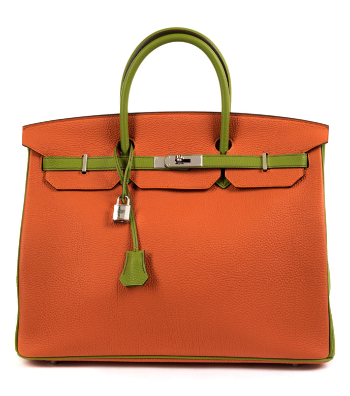 † Hermès Birkin Bag 40 cm Special Order Horseshoe Orange & Vert Anis