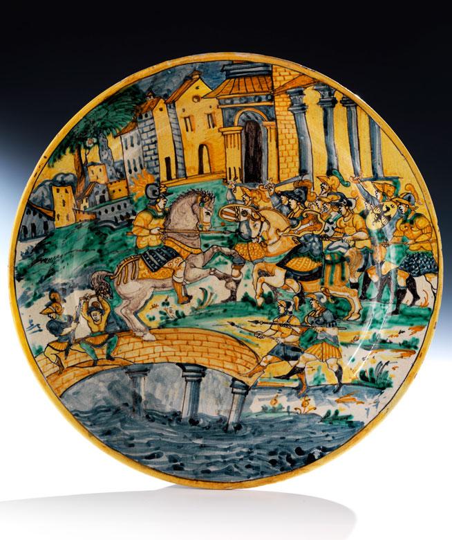 Majolika-Platte mit Istoriato-Dekor