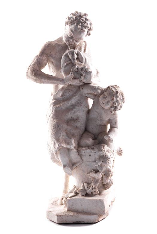Marmorfigurengruppe eines musizierenden Fauns mit einem Putto