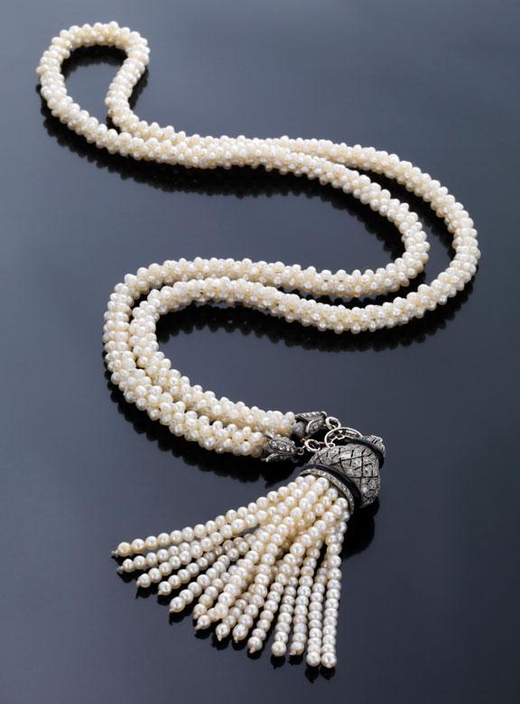 Antikes Perl-Diamantcollier