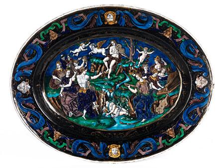 Ovale Schale mit Limoges-Emailmalerei