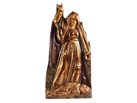 Hochreliefschnitzerei mit Darstellung eines toten Kindes zu Füßen einer klagenden Frau