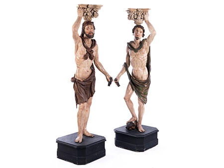 Paar lebensgroße Karyatiden-Statuen