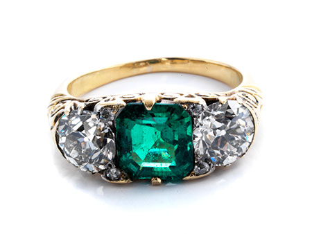 Antiker Smaragd-Diamantring