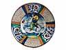 Detail images:  Große Majolika-Platte mit Reiterfigur, wohl der Manufaktur Mancini