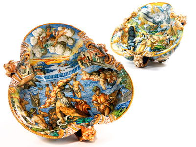 Pair of large, rare maiolica bowls